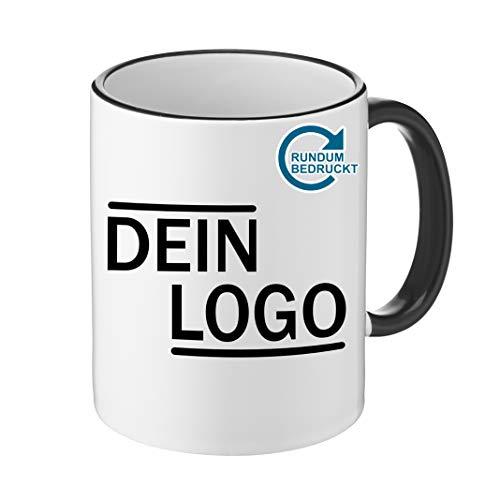 Foto Premio Werbetasse mit Logo   Kaffeetassen mit Logo Bedrucken, Tasse mit Logo in Kleiner Auflage günstig bestellen, Spülmaschinen- und Mikrowellenfest, 300ml Füllmenge (Schwarz, Panorama)