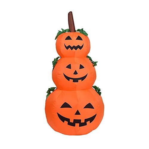 4 Foot Halloween Inflatable Pumpkin,3 Jack-O-Lanterns Inflatable Yard Art Decoration