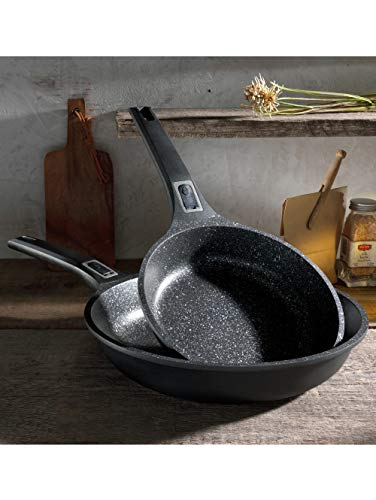 GSW 167765 Pfannen-Set Easy Click 2-tlg, 20 + 28cm mit abnehmbaren Griffen, Aluminium, Kunststoff, schwarz