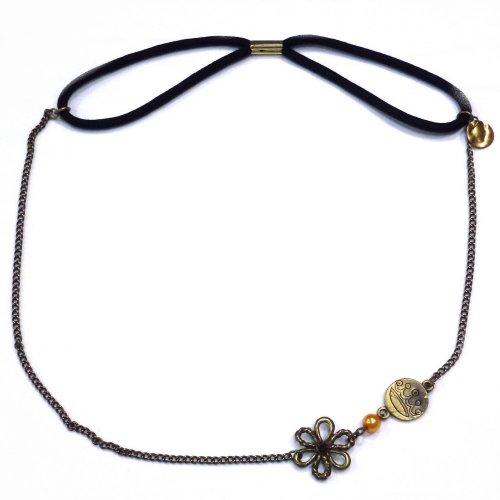 rougecaramel - Headband/bandeau/bijou de tête avec petite fleur en métal - antic gold