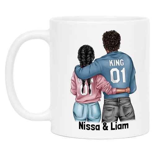 Kiddle-Design Paar-Tasse Personalisiert mit Namen Jahrestag Hochzeitstag Geschenk für Pärchen Freund und Freundin Individuelle Pärchen Kaffeetasse