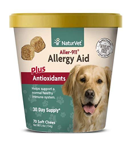 NaturVet aller-911Allergy Hilfe Plus Antioxidantien für Hunde, 70ct Soft Kaubonbons, Made in USA