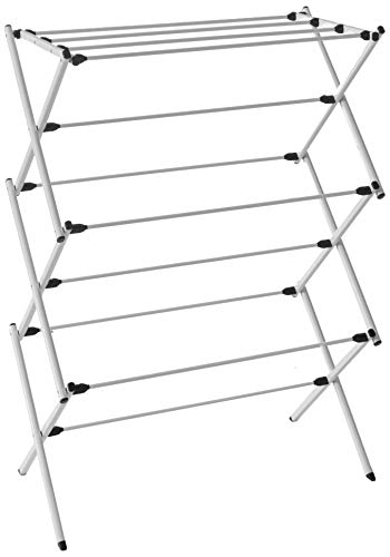 HOMZ Foldable Frame Rustproof 23 ft Space Clothes Drying Rack 294 x 143 x 42 Stainless Steel