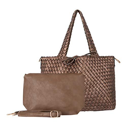 SKUTARI Giada Classic Flechttasche Damen, Bronze & Taupe | Vegan-Leder Shopper mit seperater Clutch | Webtasche, Wendetasche, Handtasche | 33 x 38 x 13 cm