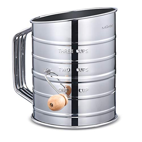 MaMix Stainless Steel Baking Hand Crank Flour Sifter with 2 Wire Agitator 3 Cup