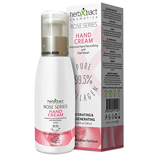 Hand Cream with Collagen Essential Rose Oil Keratin and Vitamin E  Antiaging Lotion for Dry Aging Hands For Silky Smooth Hands Skin Moisturizer by HerbXtract 34 Fluid Ounces