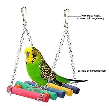 Tbest Les oscillations d'oiseau, hamac de Cage de hamacs de Jouet en Bois coloré en Bois d'oscillation d'animal familier accrochant des Jouets pour des Oiseaux