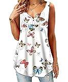 SWAGSTS Camiseta de verano para mujer, cuello redondo, manga corta, suelta, con botones, informal, estampada, túnica mariposas S