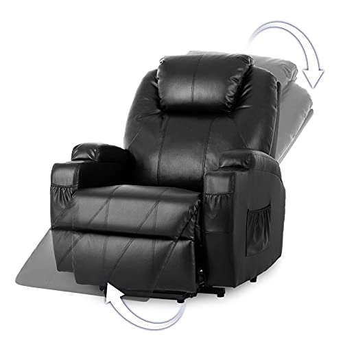 Advwin Electric Lift Recliner Chair Heated Vibration Massage Motorized Living Room Chair with Side Pocket and Cup Holders, 45-140 Degree tilt Black