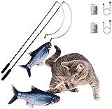 Flippity Fish Elektrisches Katzenspielzeug, otakujk Katzenminze Wiederaufladbar USB Kabel, Spielzeug...
