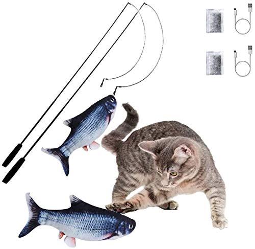 Flippity Fish Elektrisches Katzenspielzeug, otakujk Katzenminze Wiederaufladbar USB Kabel, Spielzeug Fisch mit Katzenminze Spielangel für Katze Beißen Spielen, Verschiedene Geschwindigkeitsstufen
