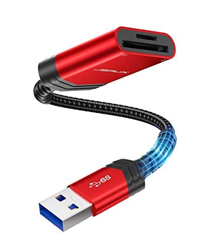 JSAUX USB 3.0 SD TF Kartenleser USB Card Reader Adapter TF SD Kartenleser 2 Slot Kartenlesegerät für SDXC, SDHC, SD, MMC, RS-MMC, Micro SDXC, Micro SD, Micro SDHC Karte schwarz-Rot