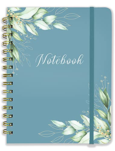 """Hardcover Spiral Notebooks/Journal ,College Ruled Spiral Notebookl,Premium Thick Paper120g,A5 hardcover notebook with Strong Twin-Wire Binding , Elastic Closure, size 8.26""""x 6.34"""",Suitble for School, Office & Home"""
