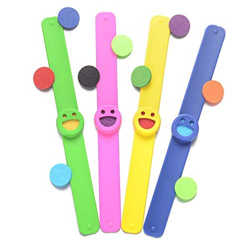 Kids Essential Oil Diffuser Bracelets Kit,4-pack Eco-friendly Silicone Wristbands,with 20 Felt Refill Pads,Aromatherapy Slap Bracelets for Girls Boys Women