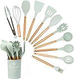 12 piezas de conjunto de herramientas de cocina no tóxicas, utensilios de cocina de silicona antiadherentes, conjunto de herramientas de cocina resistente al calor con cucharas, raspadores y pinceles