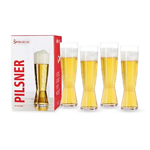 Spiegelau Classics - Vasos de cerveza, vaso alto 15 oz (set de 4), Transparente, Paquete de 4, 1