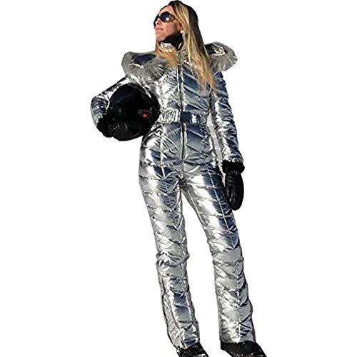 Frauen-Winter Onesies Ski-Overall, Ski-Jacke Und Hose Für Mädchen, Sport Snowsuit Pelz-Kragen-Mantel-Overall Mit Hoodies Removable,Silber,XL