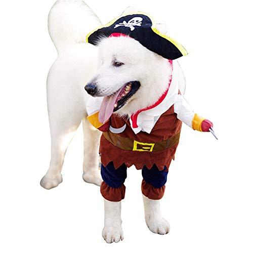 XHPWW Cane Gatto Costumi di Halloween Abiti da Pirata Stile Marinaio per Cani, Animali Domestici con Cappuccio Divertenti Tuta per Cani di Piccola Taglia (S-L)-S