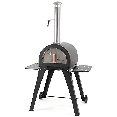 BBQ-Toro Pizzaofen Havai mit Schamottesteinen, 2 Seitenablagen und 2 Rädern | Pizza Steinbackofen für Garten, Terrasse | Outdoor Pizza Ofen, Holzbackofen, Pizza Grill