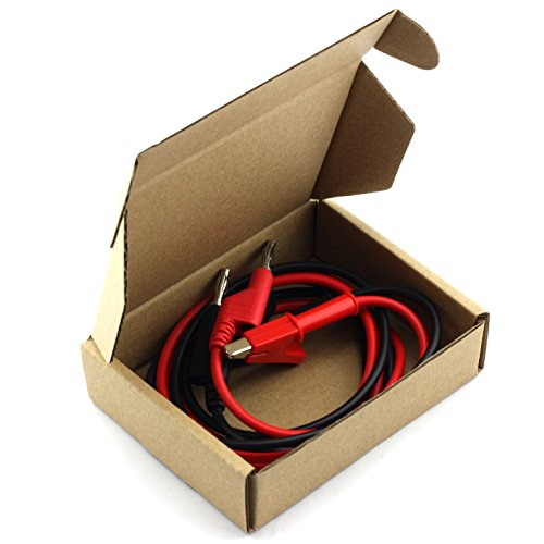 TOTOT 2 PCS Banana Plug to Crocodile Alligator Clip Cable Stackable Test Lead Wire Cable Set 15A 1M