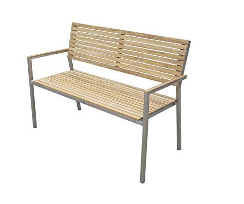 Unbekannt VARILANDO® Gartenbank Diego aus Edelstahl und Teak-Holz in 3 Varianten Sitzbank Parkbank (2-Sitzer)
