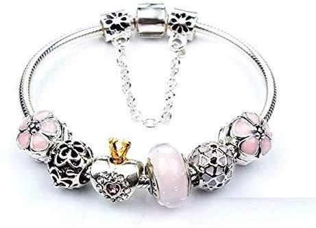 Europe Fashion 925 Silver Dangle Heart Crystal Beads Charms Pandora Elements Bracelet Valentines Gift LATT LIV