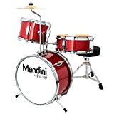Mendini by Cecilio 13 inch 3-Piece Kids/Junior Drum Set with Throne, Cymbal, Pedal & Drumsticks (Red Metallic)