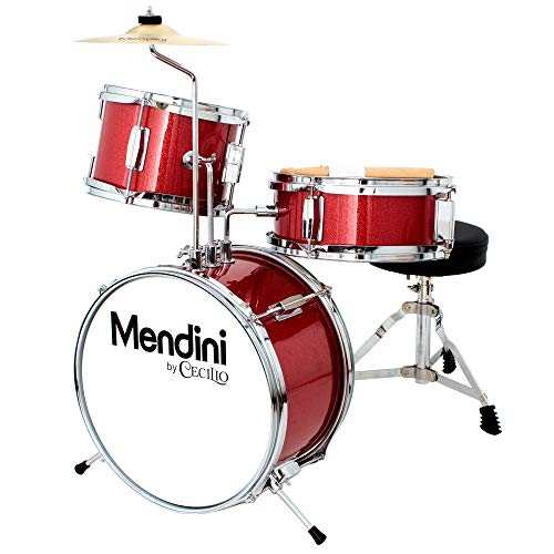 Mendini by Cecilio 13 inch 3Piece Kids/Junior Drum Set with Throne Cymbal Pedal amp Drumsticks Red Metallic