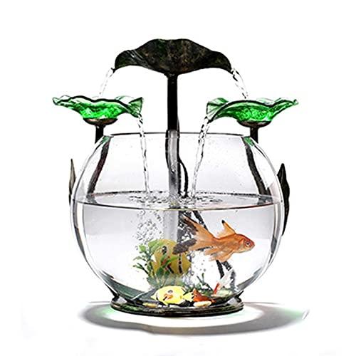 WBDZ Fontaine d'eau de Table, réservoir de Poissons de Cascade de Feuille de Lotus en Verre Transparent, Fontaine d'intérieur de Table Petite décoration de Bureau de Maison d'aquarium