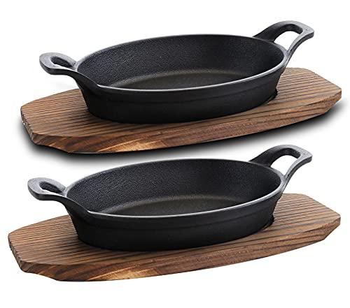 4 Piece Pre-seasoned Cast Iron Fajita Skillets and Steak Sizzle Plates - Oval Mini Server with Wood Base, 10.5 in. (2 Sets)