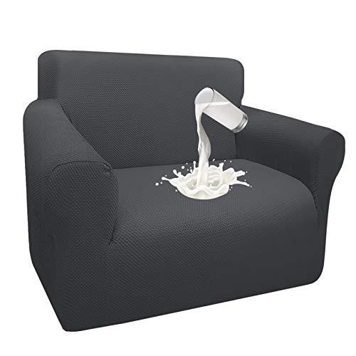 Granbest Dicke Wasserdicht Sofabezug 1 Stück Luxuriös Thick Couchbezug für Hunde Schick Jacquard Elastische Couchbezug Möbelbezüge mit Anti-Rutsch-Schaumstoffe (1 Sitzer, Grau)
