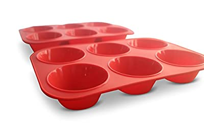 """XXL Jumbo Silicone Muffin Pan - 3.5"""" Texas Sized Commercial Muffin Pan Set of 2 (2, Red)"""