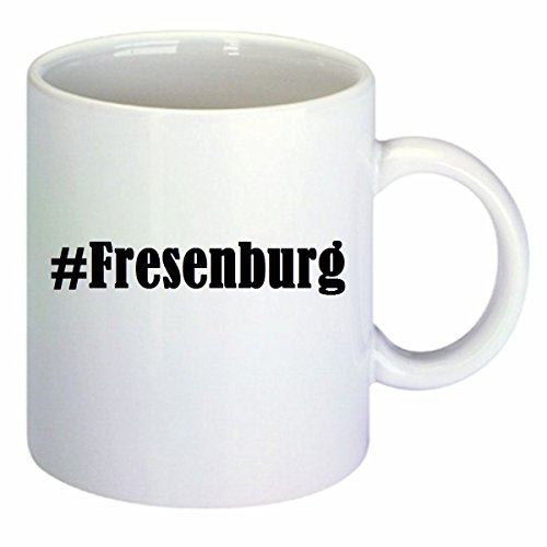Kaffeetasse #Fresenburg Hashtag Raute Keramik Höhe 9,5cm ? 8cm in Weiß