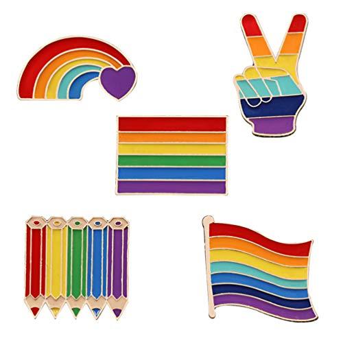 Happyyami Broche de esmalte arcoíris con orgullo para chaquetas, bolsos, sombreros, accesorios de Navidad, manualidades para mujeres, hombres, fiestas, entregado