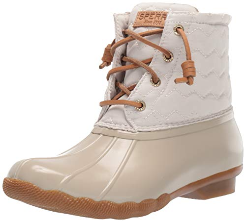 Sperry Womens Saltwater Chevron Quilt Nylon Boots, Ivory, 6.5