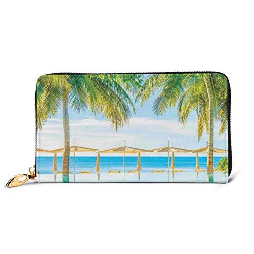 Tarjetero Largo de Cuero para Mujer, con Cremallera, Hebilla, Elegante Cartera de Mano, Playa exótica con la Naturaleza de la Piscina con luz Suave, Rayos de Sol, fantástico Tema de Vac