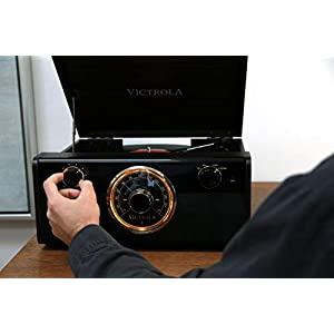 Victrola Wood Metropolitan Mid Century Modern Bluetooth Record Player with 3-Speed Turntable and Radio