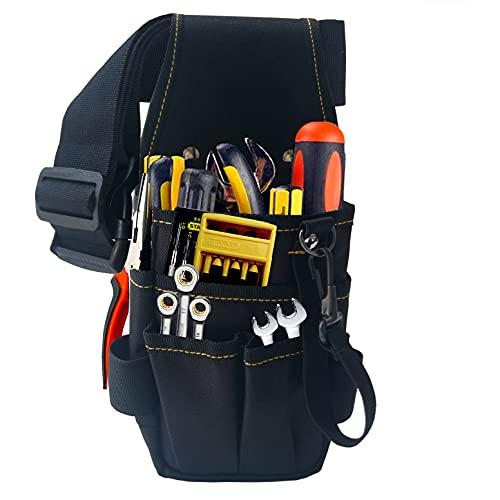 Copechilla bolsa herramientas negro profesional con cinturón cómodo ensanchamiento ajustable,Refuerzo remaches,Fuerte y resistente al desgaste, Material nailon grueso doble capa,hogar o profesional