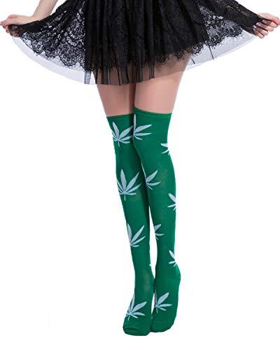 Girls Long Funny Cute Over Knee High Costume Socks 1 Pack,White Marijuana