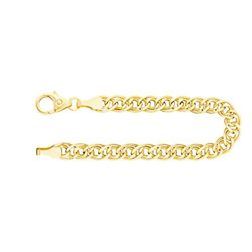 Herren Gold Armband 4,8 mm, Zwillingspanzerkette 333 aus Gelbgold, Goldarmband mit Karabinerverschluss mit Schlaufe, Echt Gold mit Stempel, Länge 21 cm, Gewicht ca....