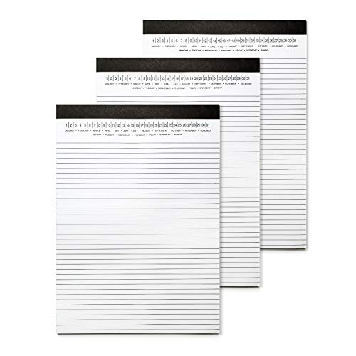 Legal Pads 8.5 x 11 with Date on Top, Narrow Ruled, White Note Pads College Ruled Writing Tablets for Office, School, 50 Sheets, 3 Pack