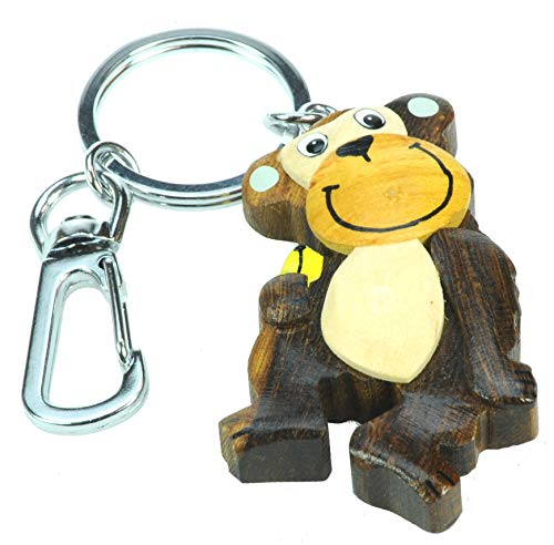 Namesakes Cheeky Monkey Keyring for Women, Kids & Animal Lovers! Novelty Zoo Safari Keychain - Handcrafted from Wood - Bag Accessory Charm