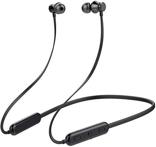 KINGWorld Bluetooth Headphones Neckband 20Hrs Playtime V4.2 Wireless Headset Sport Noise Cancelling Earbuds w/Mic for Gym Running Compatible with iPhone Samsung Android (Black)