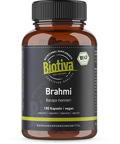 Brahmi Organic Capsules - 150 Veggie Capsules - 500mg per Capsule - Bacopa Monnieri - Herb of Grace - Vegan - Without Additives - Packed and Controlled in Germany (DE-ECO-005)