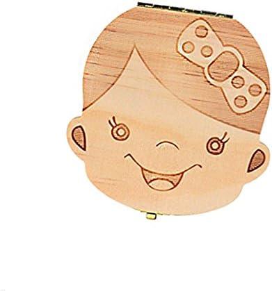 CAOLATOR Babytandenkistje voor babytanden bewaardoos voor babymelktanden hout; souvenir opbergdoos meisjes