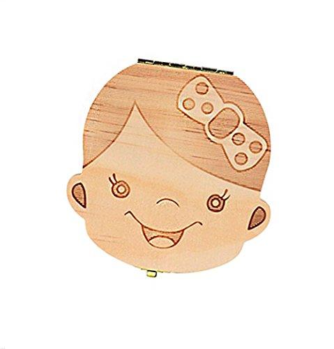 Outflower (Deutsch, Englisch Version) Baby Kinder Original Holz Haar Milchzahndose Milchzähne Zahn-Box Zähne Box Kasten Souvenir Aufbewahrungsbox