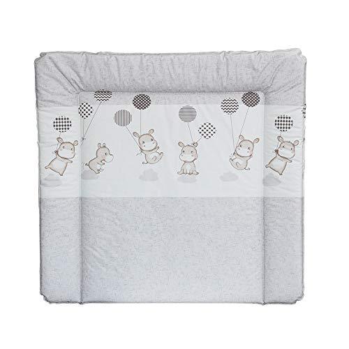 Superelch Wickelauflage 77 x 73 cm, Wickelunterlage für 80 cm Breiten Wickelaufsatz für IKEA Kommoden, z.B. von NSD oder Puckdaddy, schadstofffrei, abwaschbar Hippo GRAU