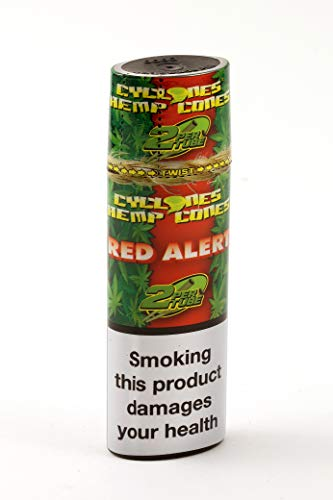 Cyclones Pre Rolled Hemp Wrap Cone with Tip and Reuseable Twist Top Tube - 2 Cones Per Tube (Strawberry)