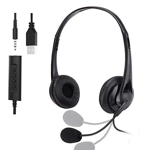 Muljexno Auriculares para PC, combinación de Auriculares Jack USB de 3,5 mm, función de reducción de Ruido del micrófono, Auriculares Skype, adecuados para PC portátil teléfono Android