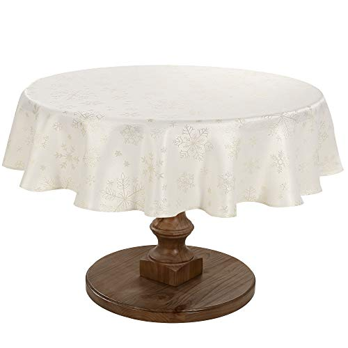 HARORBAY Christmas Tablecloth Round 60 Inch, Snowflake Table Cloth for Thanksgiving Fall Holiday, Cream Gold Farmhouse Table Cover (Crystal Serie)